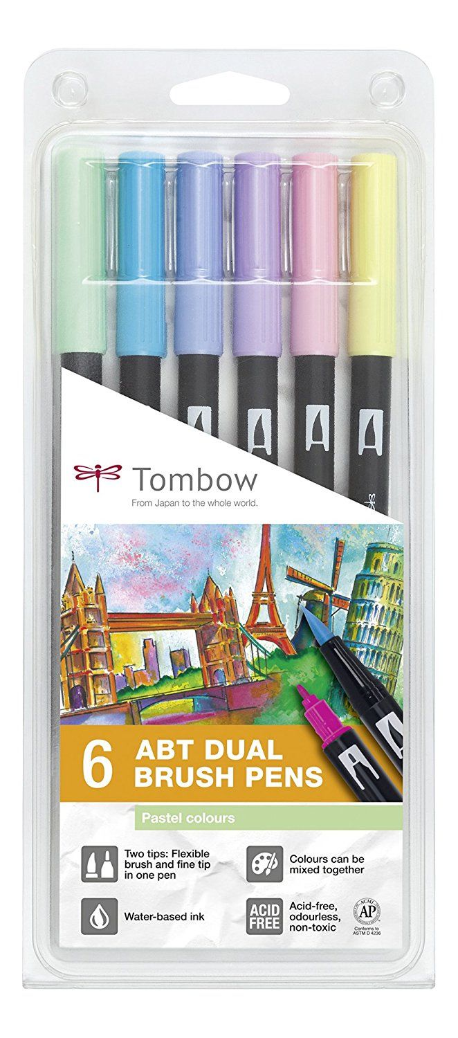 Tombow Dual Brush Pens Pastels - Pack of 6 Colors (ABT-6P-2): Amazon.ca: Home & Kitchen