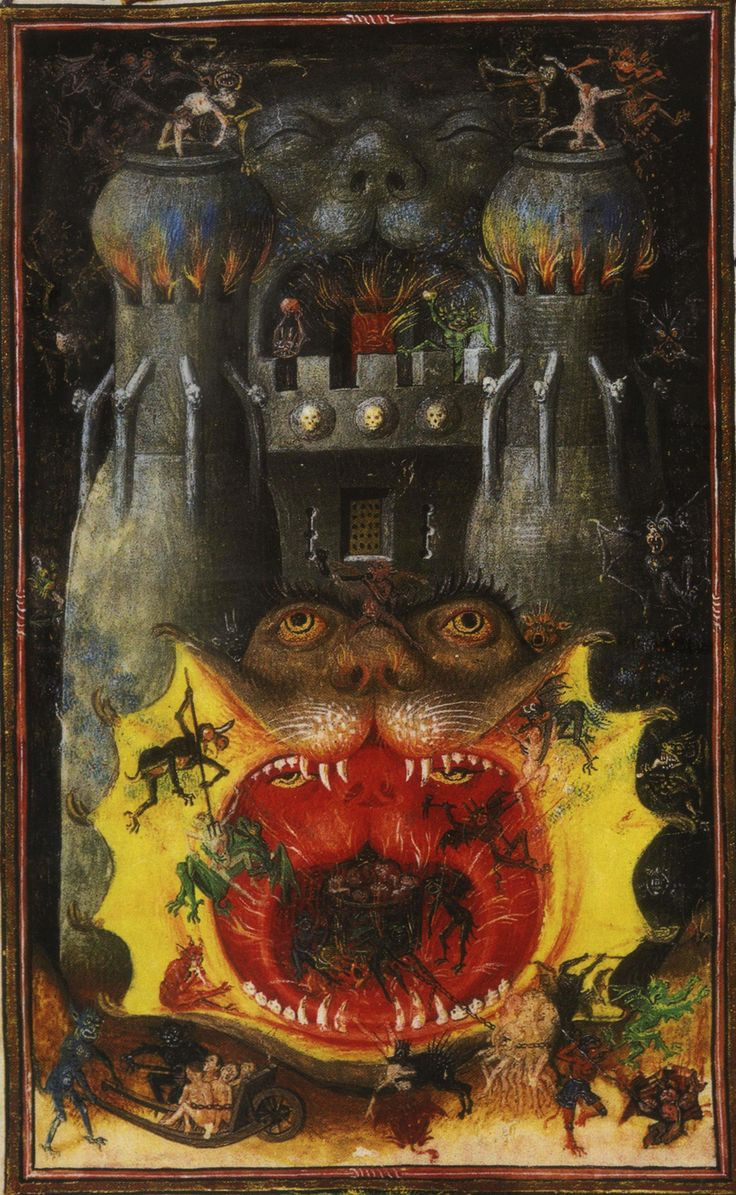 The hours of Catherine of Cleves: Mouth of Hell. Gothic Illuminated Manuscript. Dutch. c., 1440