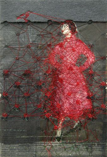 Hinke Schreuders  works on paper #15  yarn, felt and ink on paper on canvas