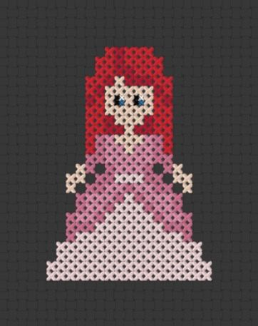 Pixel Princess - Ariel , Mermaid , Printable Cross Stitch Pattern (PDF)