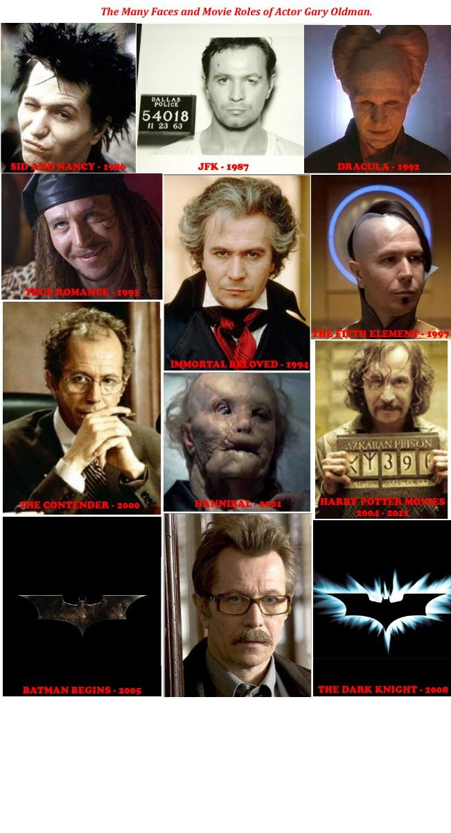 Gary Oldman - the chameleon. He's such a good actor that I had no clue all of these roles were his' !? I'm truly impressed.