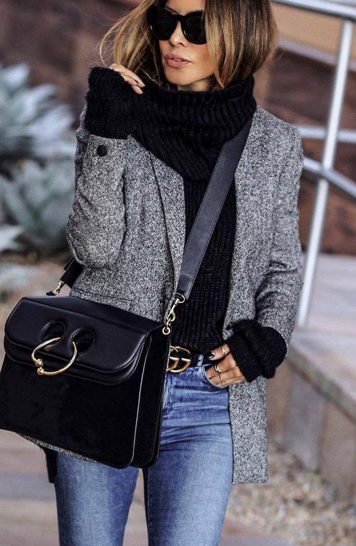 cozy winter outfit / grey blazer   black sweater   bag   skinny jeans