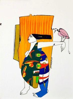Armanda Passos Sem Título - 146)21 Chinese Ink and gouache x Paper 28 cm x 21 cm #ArmandaPassos #Gouache #Ink #Painting #Drawing #Color #Artwork #SãoMamedeArtGallery #Portugal #Lisbon #Art