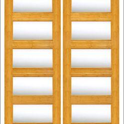 Indoor Doors Bamboo With Overhang Slides   AAW Inc.   Bamboo Interior Door  Model BM