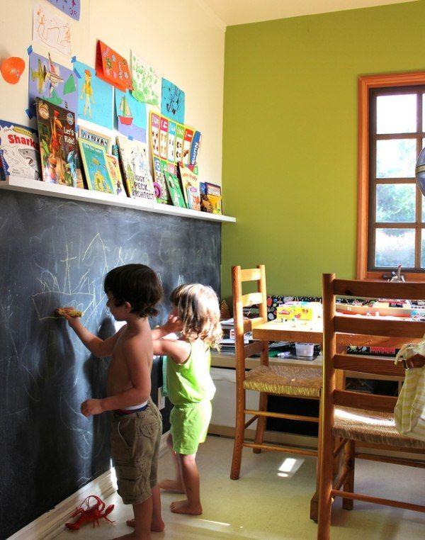 Einrichtungsideen für Kinderzimmer-Kreativität fördern durch eine Maltafel (Diy Painting Walls)