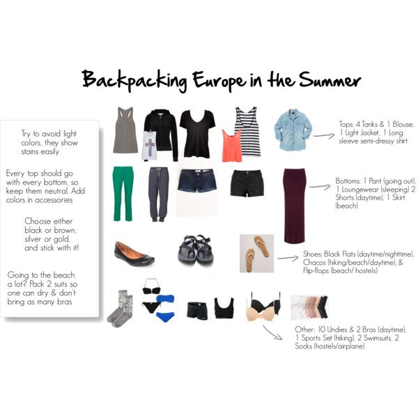 Backpacking Europe in the Summer Packing List. Good for trips that you need to pack light