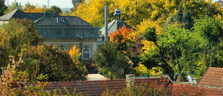 Autumn colors, old bath hostel and turkish bath from my balcony, Nikon Coolpix L310, 71.2mm, 1/250s, ISO 80, f/5.7, -1.0ev, panorama mode: segment 6, HDRphotography, 201710141438