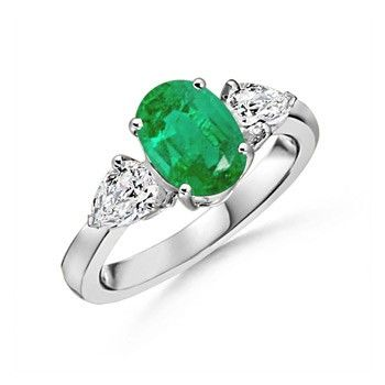 Angara Solitaire Pear Natural Emerald Bypass Ring