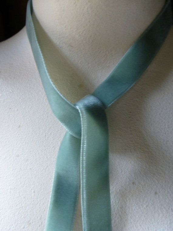 Velvet Ribbon in Deep Seafoam Green made in ITALY for Bridal, Costumes, Millinery, Couture, Floral Supply VL