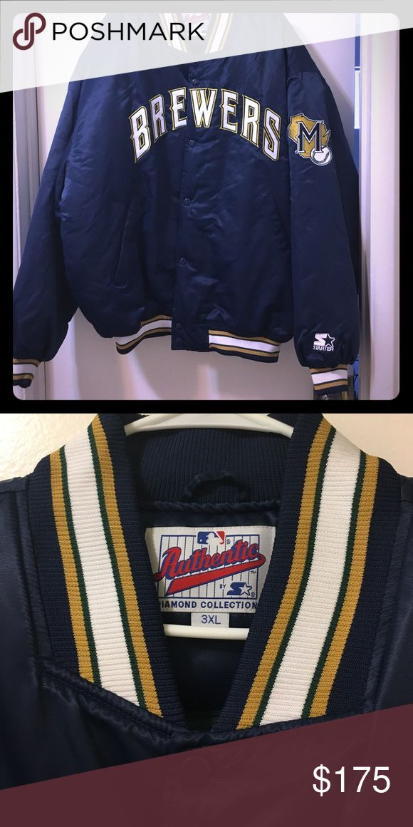 Brewers throwback jacket Navy and yellow brewers varsity jacket authentic MLB old school Nike MLB Jackets & Coats Bomber & Varsity