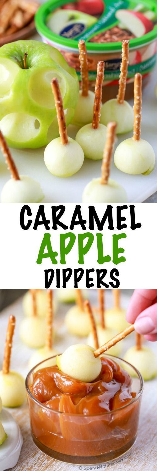 Mini Caramel Apple Dippers are the perfect fall treat for any holiday gathering!  Little bits of tart apple with crisp pretzel sticks dipped in a thick rich caramel sauce.