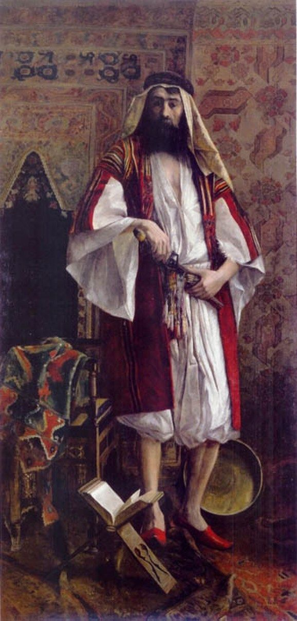 19th century painting of Rudolf Ernst showing a Palestinian Nobleman.