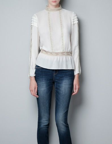 BLOUSE WITH LACE AND THREADED RIBBON - Shirts - Woman - ZARA United States