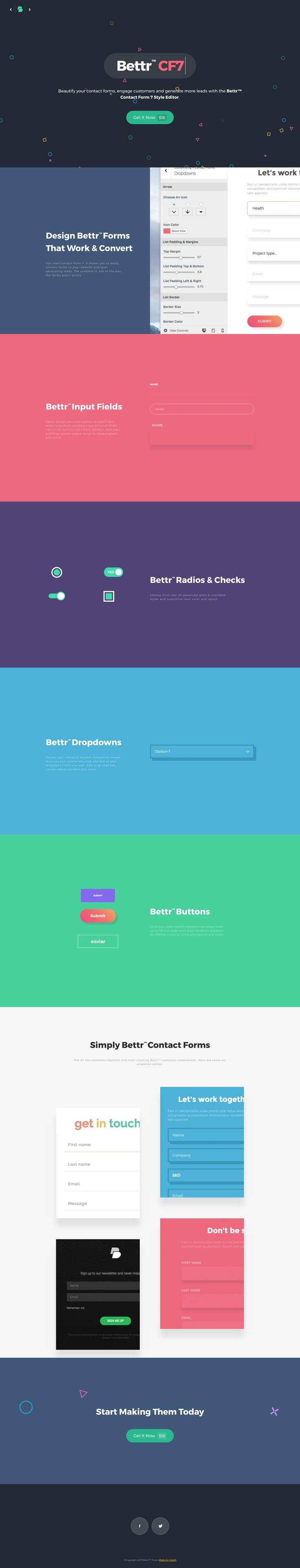 Shirt design wordpress plugin - Colorful Landing Page Promoting Bettr Cf7 A Premium Add On To Beautify