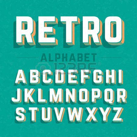 レトロなスタイルの 3 D 文字 ロイヤリティフリークリップアート、ベクター、ストックイラストレーション。. Image 48711929.