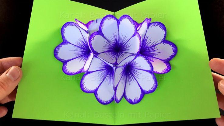 Basteln mit Papier: Blumen Pop-Up Karte basteln. DIY Bastelideen für Ges...