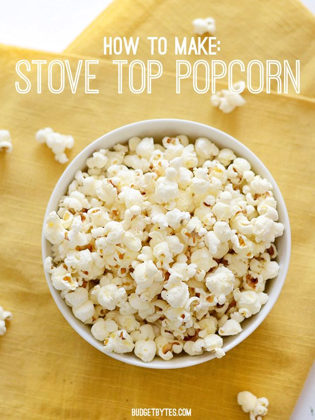 Making popcorn on the stove top is fast, inexpensive, and far more flavorful than the microwave. Get the step by step instructions here.@budgetbytes