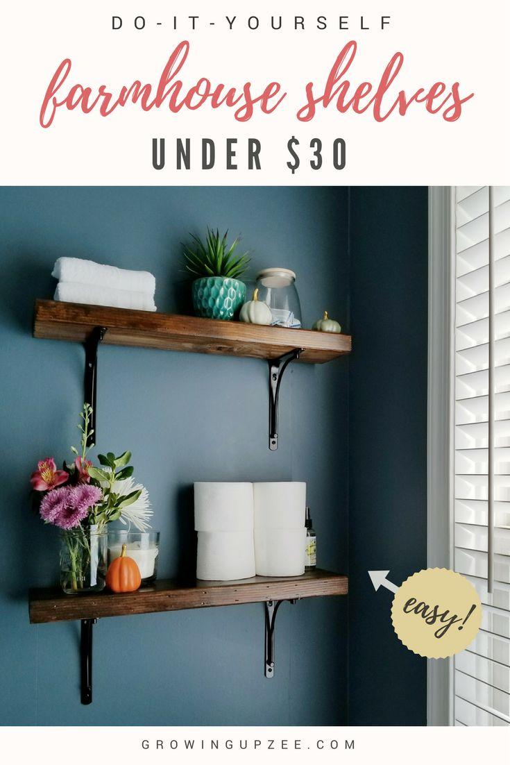I can't wait to try this farmhouse shelves DIY! #fixerupper #diy #farmhouse #rustic via @growingupzee