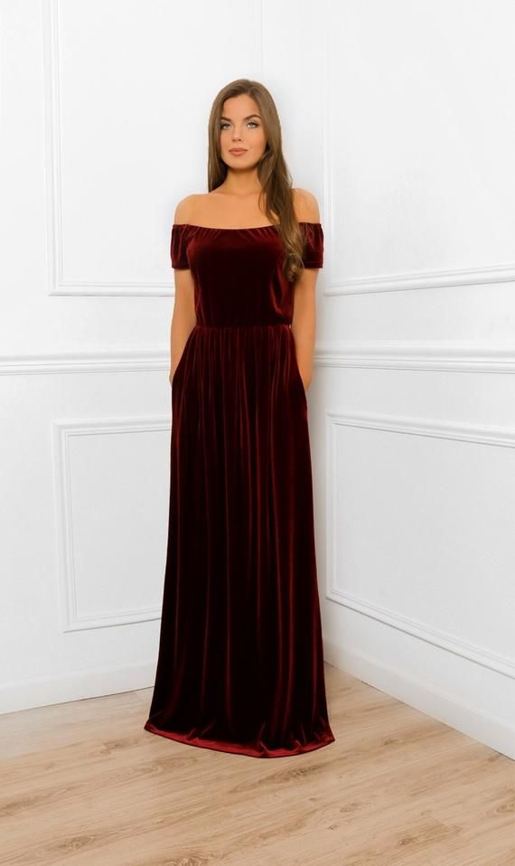 Dark Burgundy Shoulders Off Maxi Velvet Dress / Bridesmaid Party Dress With Pockets Sash Mini Sleeves