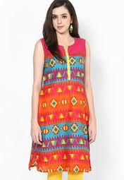 Karigari Aqua Blue Printed Cotton Kurta Online Shopping Store 449