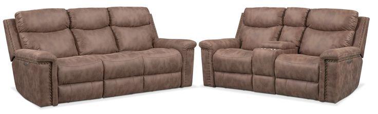 Montana Dual Power Reclining Sofa And Reclining Loveseat Set - Taupe