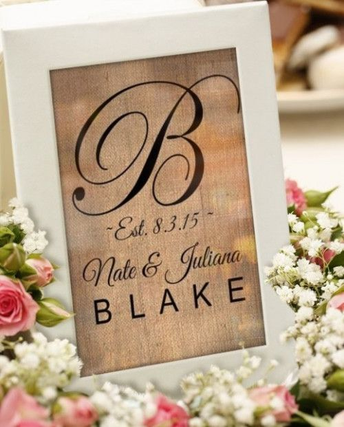 Personalized last name sign, #Monogram sign, #bridal shower gift ideas