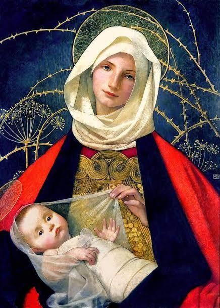 Marianne Stokes (1855 - 1927) Madonna con bambino Dipinto a Dubrovnik, sulla costa croata, nel 1905.  La modella per la Madonna, che è vestita con un vestito tradizionale del luogo, è stata una ragazza di Dubrovnik.