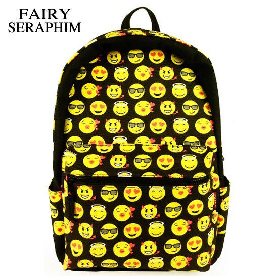 FAIRY SERAPHIM Cool Kids Cute smile Emoji Backpack Child  ransel School mochila Backpacks Bookbag Printed Students Bag #Affiliate