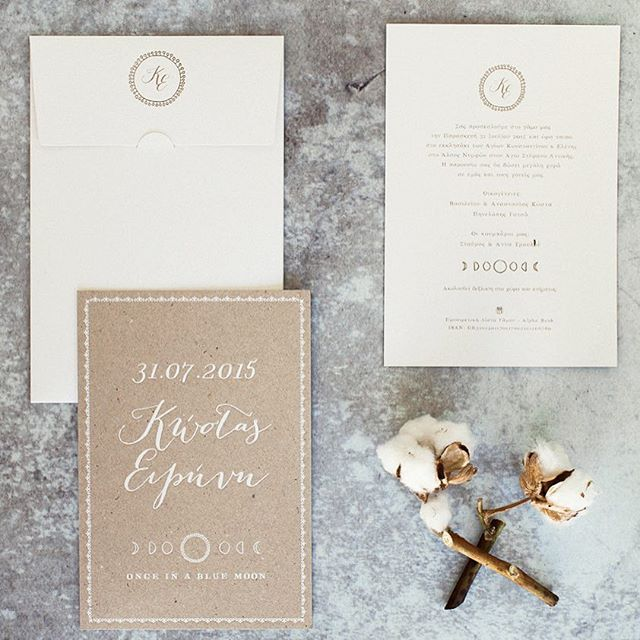 """Rustic wedding invitation captured by Adrian Wood. Letterpress on recycled paper. """"Once in a blue moon"""" concept   www.atelier-invitations.gr   Προσκλητήρια"""