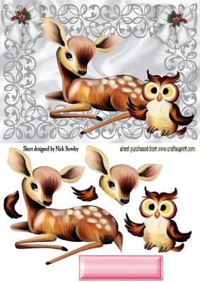 CUTE DEER WITH CUTE OWL IN SILVER FILIGREE FRAME on Craftsuprint - Add To Basket!