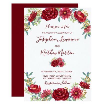 burgundy watercolor flowers wedding invitations in 2018 wedding
