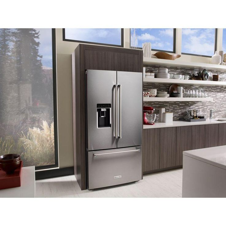 KitchenAid 36 in. W 23.8 cu. ft. French Door Refrigerator in Stainless Steel, Counter Depth-KRFC704FSS - The Home Depot
