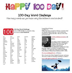 100 Day activities: How many words can you make using the letters in one hundred?  I've included my alphabetical list of 105(!!!) plus some trivia of the longest recorded words, including one that has 100 letters in it! FREE printables. Fun game for your 100th Day of school.