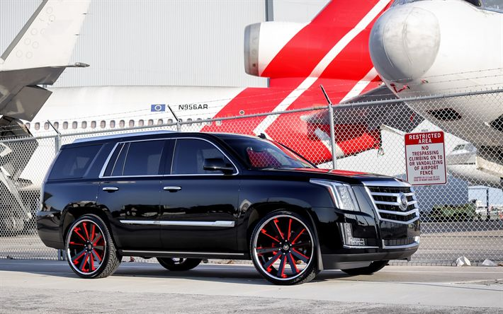 Download wallpapers Cadillac Escalade, 2017, large luxury SUV, American cars, tuning Escalade, black and red wheels, Airport, Cadillac