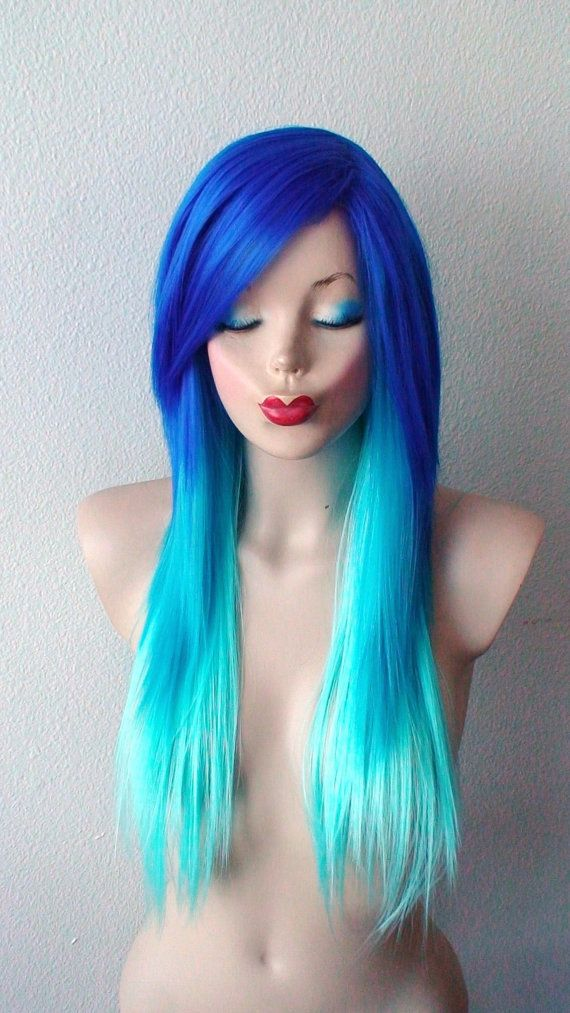Halloween Special // Blue wig. Electric blue / Teal / by kekeshop