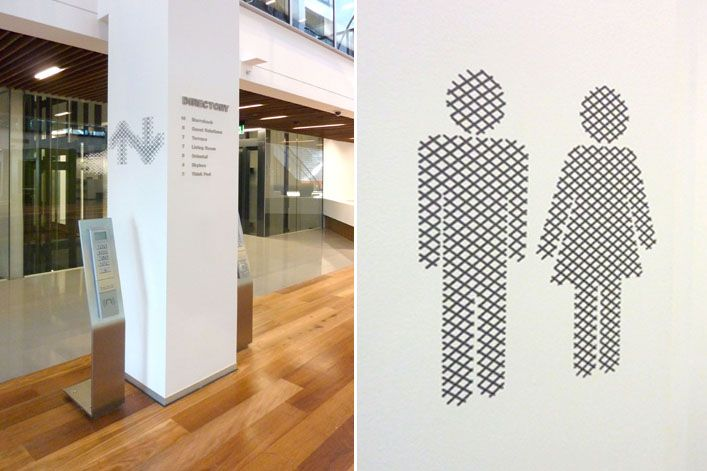 """Consider creating directional symbols (like these arrows and restroom signs) by """"cutting"""" them out of a pattern from your event look/feel, your logo, or your supporting event imagery:  EGG Office Typography / Icons"""
