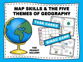 Map Skills And The Five Themes Of Geography Task Cards