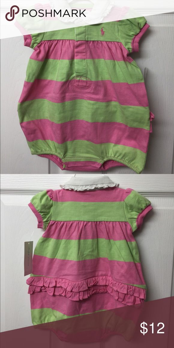 Little girl polo bubble suit Lime green and pink with white collar and snaps in between legs.  Fits 27 1/2-29 inches 19-22 lbs Polo by Ralph Lauren One Pieces Bodysuits