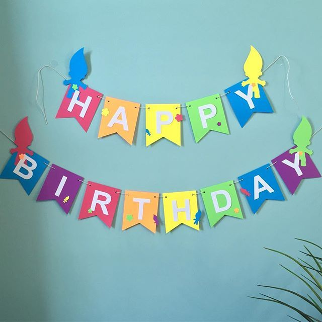 Trolls happy birthday banner! We can easily add an additional line for the birthday girl/boys name. #trollsbirthday #trollparty #trolls #tamaramastudios