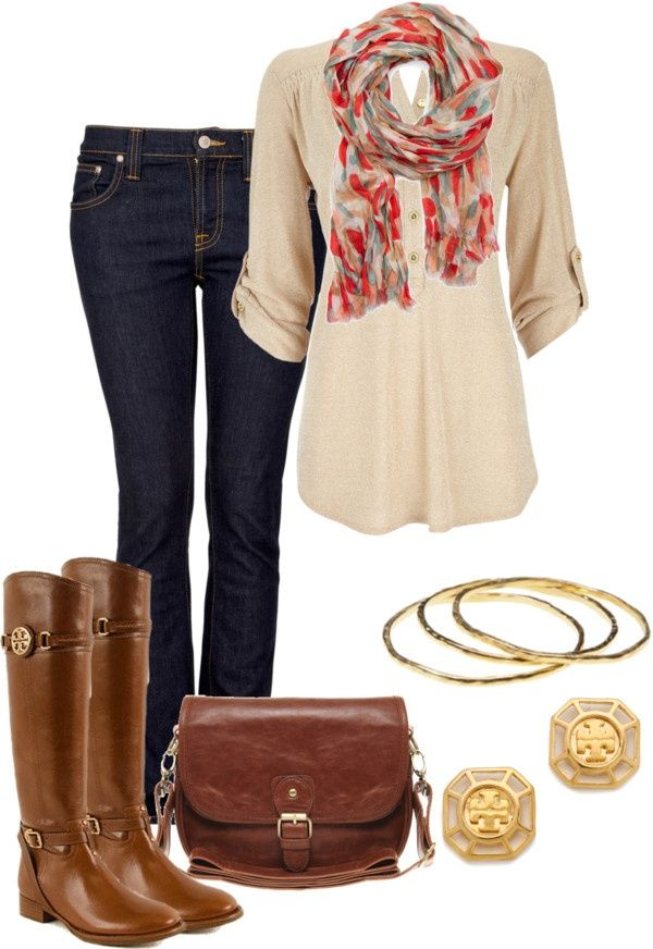 Cognac riding boots and saddlebag purse. Khaki oversized shirt with gold accents. perfect for fall! #falloutfitideas