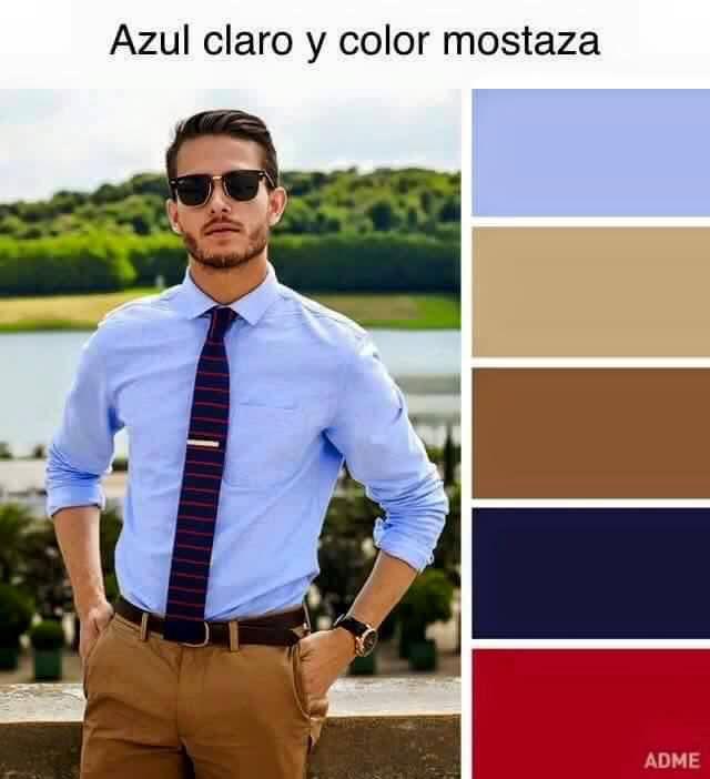 Azul claro y color mostaza