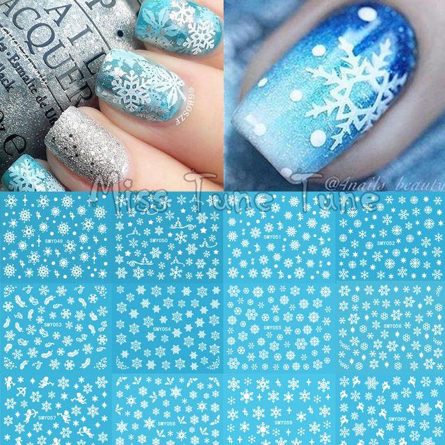 De noël Flocon De Neige Neige Styles Grand 3D Nail Art Ongles Autocollants Décalque Conseils Blanc Renne De Noël Plume Auto-adhésif