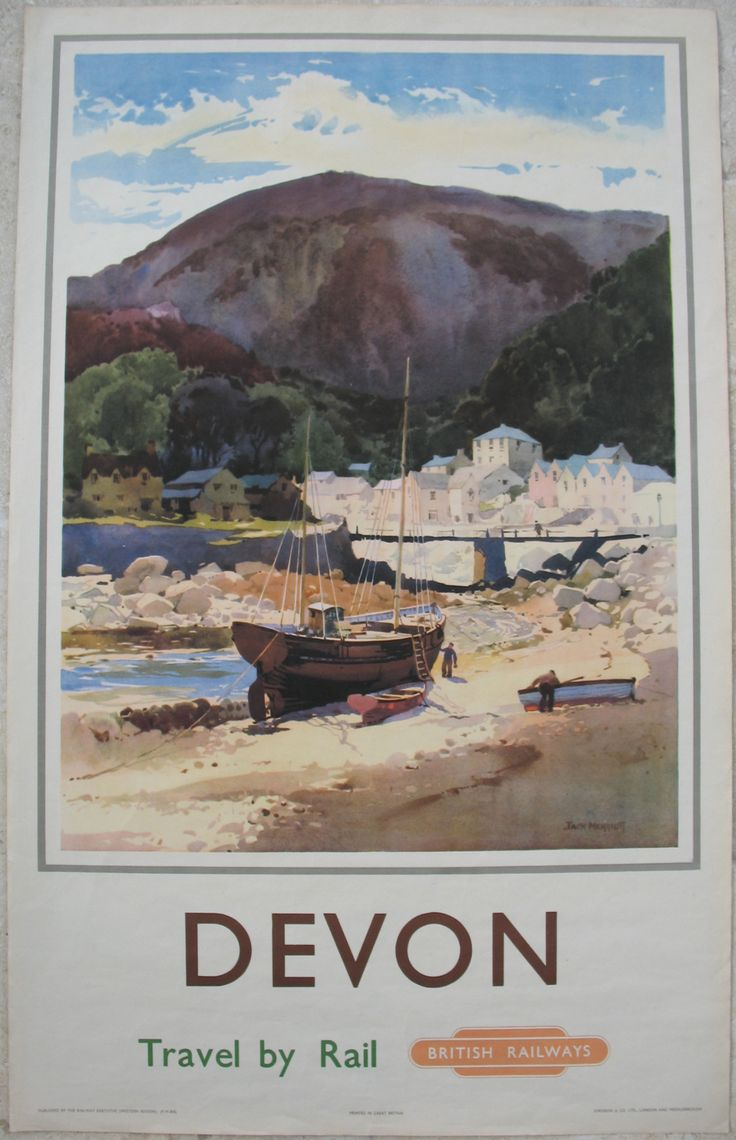 Devon - Travel by Train, by Jack Merriott. A historic view of Lynmouth, painted before the tragic events of 1952, when a severe flood destroyed much of the village and washed away it's bridges and river-mouth. The peaceful image of men at work on their boats and the village clustered in the centre, is overlooked by the looming mass of the hills of Exmoor behind. Original Vintage Railway Poster available on originalrailwayposters.co.uk