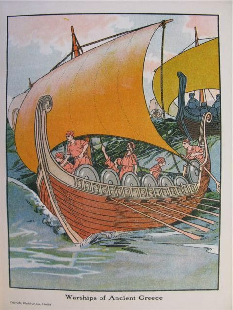 This is a boat illustrating how the Greeks traveled to places like Asia Minor, Egypt, the islands of the Mediterranean Sea and the Aegean seas. They used boats like this for many purposes like war, shipping, or traveling, as it states in the book.