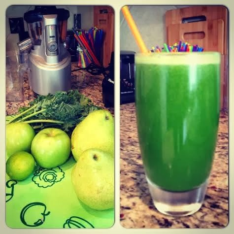 Daniel Fast: Day 1: Juicing. Kale, Pear, Green Apples and Lime.  #Breville #Juicing #PBJsSincePreK