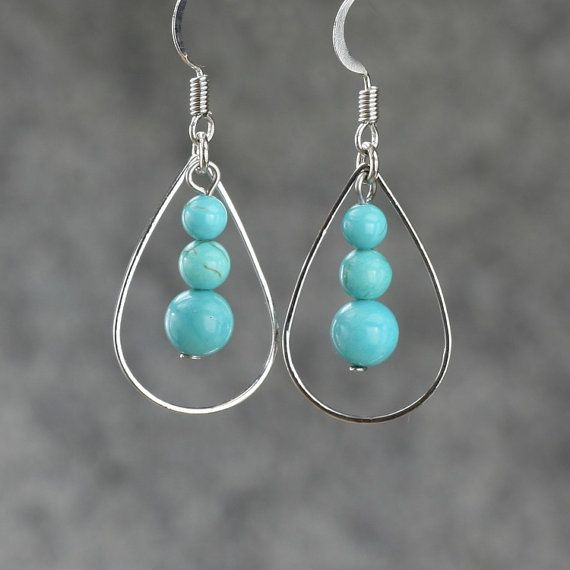 Turquoise tear drop Hoop Earrings Bridesmaids gifts Free US Shipping handmade Anni Designs
