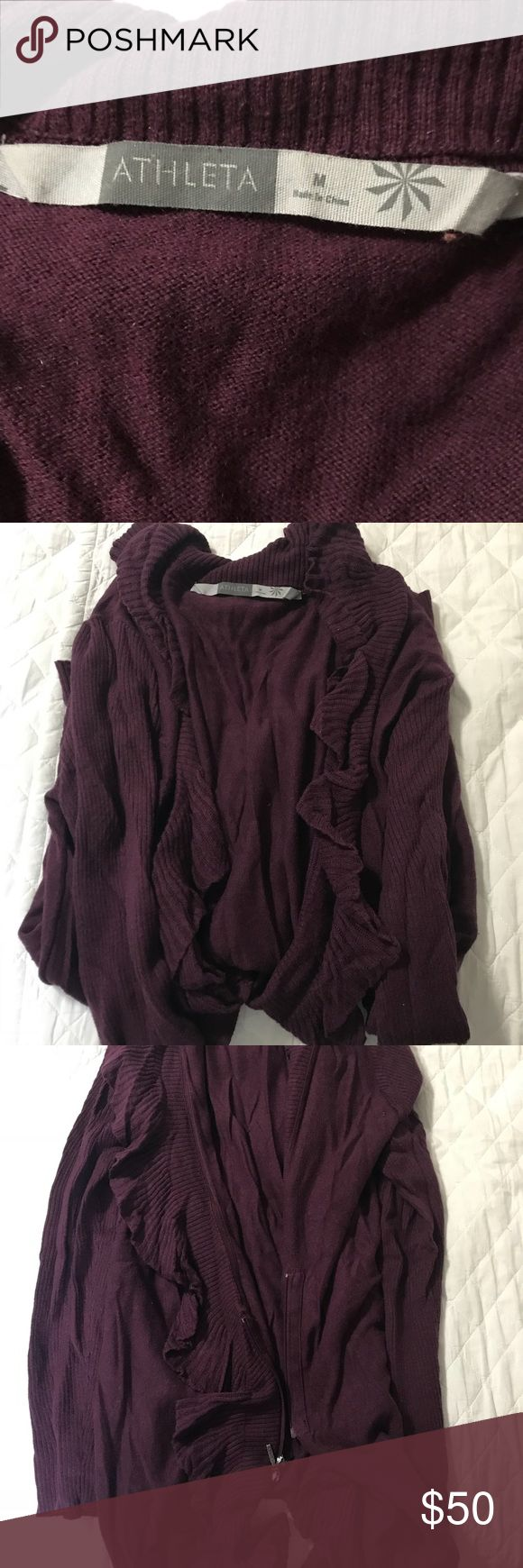 Athleta cardigan Rich vine colored cardigan from Athleta Model is about 5'1 and 130 LBS (if that helps) 🌸MAKE AN OFFER🌸 Athleta Sweaters Cardigans