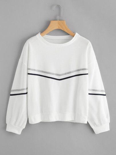 Drop Shoulder Scallop Hem SweatshirtFor Women-romwe