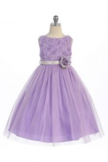 Lilac Sleeveless Tulle Dress with Mesh Rolled Flowers Flower Girl Dress