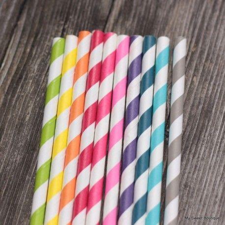 """Lot de pailles rayées type """"vintage"""" de 10 couleurs différentes ."""